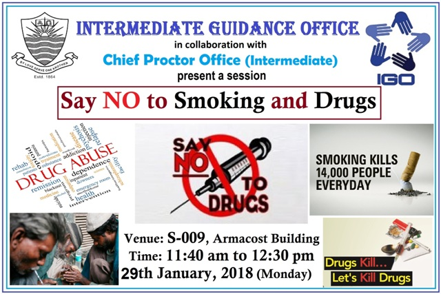 IGO to hold a session on 'Say No to Smoking and Drugs'