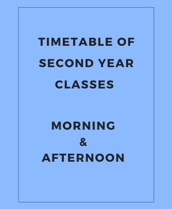 Timetable of Second Year Classes